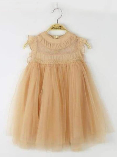 Girls Empire Waist Sleeveless Tulle Dress (8 Colors) - light yellow / 2T - Girls Fall Dressy Dress