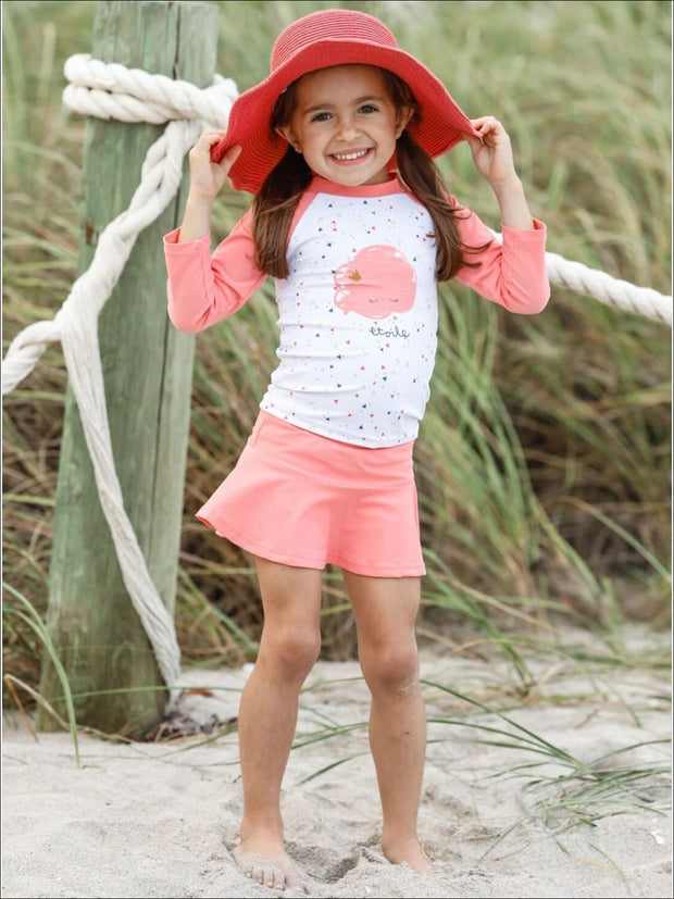 Girls Etoile Cloud Triangle Print Skirted Rash Guard Two Piece Swimsuit - 3T / Pink - Girls Two Piece Swimsuit