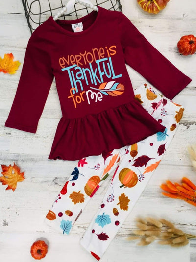 Girls Everyone is Thankful for Me Long Sleeve Peplum Tunic & Leaves Print Leggings - Burgundy / 2T - Girls Fall Casual Set