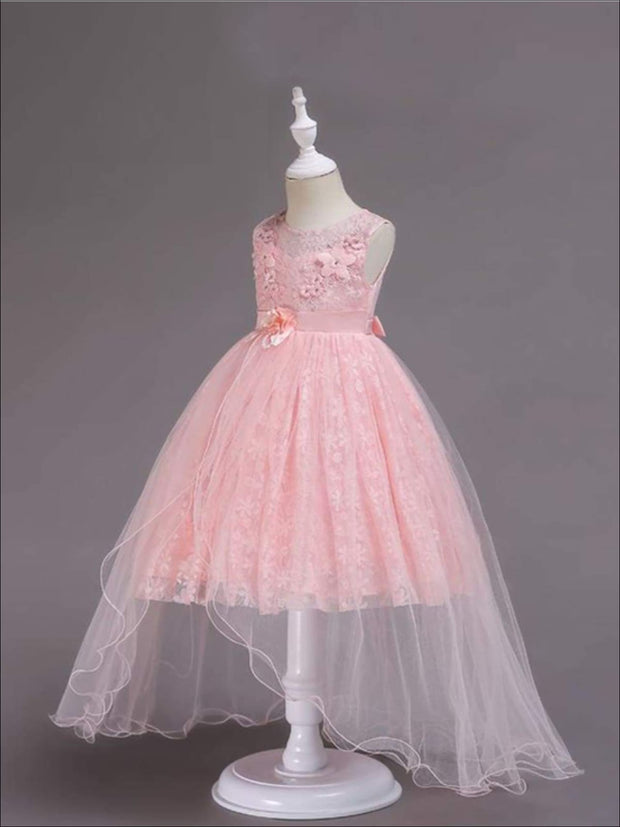 Girls Exquisite Tulle & Lace Floral Applique Holiday Dress - Girls Fall Dressy Dress