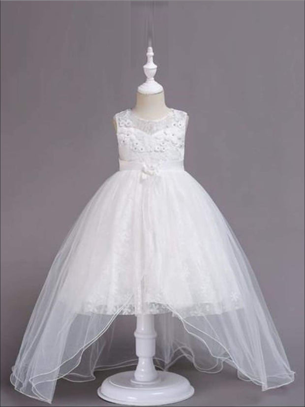 Girls Exquisite Tulle & Lace Floral Applique Holiday Dress - White / 3T - Girls Fall Dressy Dress