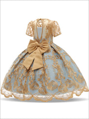 Girls Extravagant Gold Embroidered Holiday Dress with Bow - Girls Fall Dressy Dress
