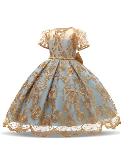 Girls Extravagant Gold Embroidered Holiday Dress with Bow - Blue / 3T/4T - Girls Fall Dressy Dress