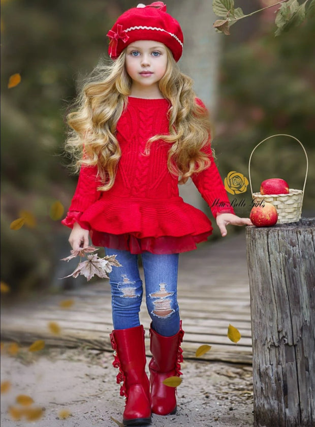 Girls Fall Cable Knit Peplum Tutu Sweater - Girls Fall Casual Tops