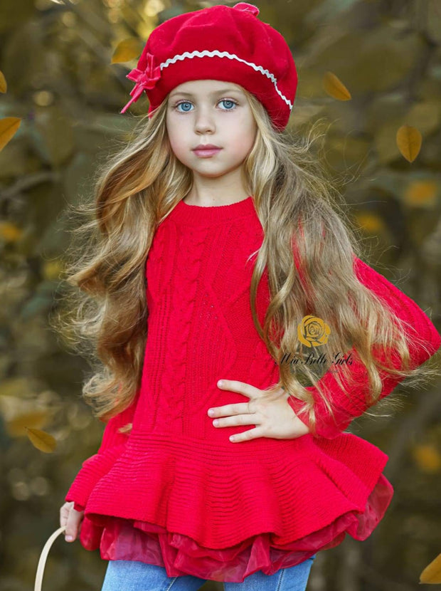 Girls Fall Cable Knit Peplum Tutu Sweater - Red / 2T/3T - Girls Fall Casual Tops