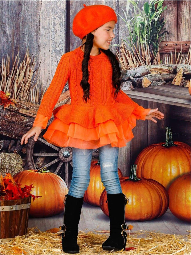 Girls Fall Chunky Knit Peplum Tutu Sweater - Girls Fall Casual Tops