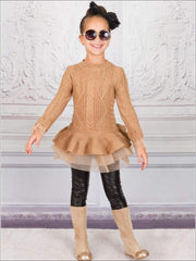 Girls Fall Chunky Knit Peplum Tutu Sweater - Brown / 2T - Girls Fall Casual Tops