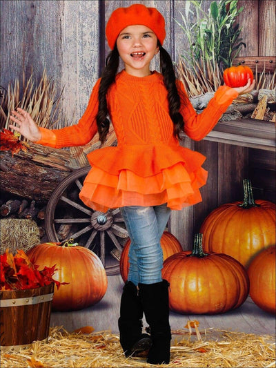 Girls Fall Chunky Knit Peplum Tutu Sweater - Orange / 2T - Girls Fall Casual Tops