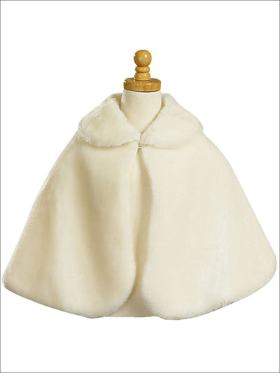 Girls Fall Faux Fur Princess Cloak/Bolero - Beige / 2T - Girls Jacket