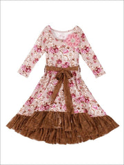Girls Fall Flower Twirl Dress with Lace Ruffle & Sash - Taupe / 2T-3T - Girls Spring Dressy Dress
