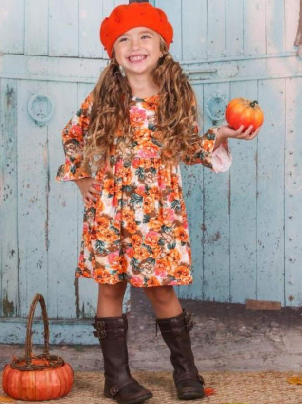Girls Fall Flowers Dress with Ruffled Sleeves - Girls Fall Casual Dress
