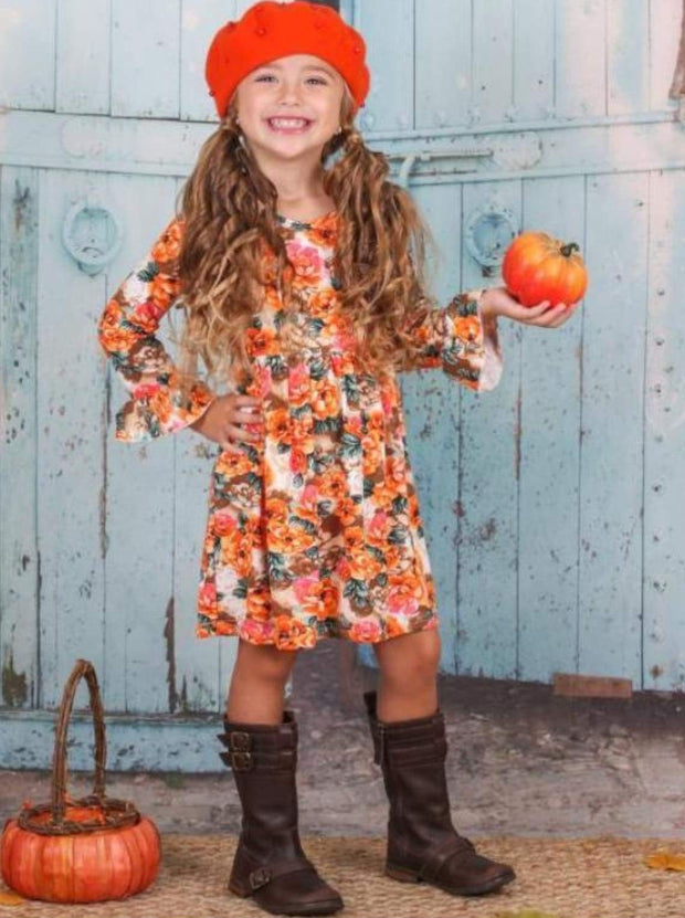 Girls Fall Flowers Dress with Ruffled Sleeves - Orange / 3T - Girls Fall Casual Dress