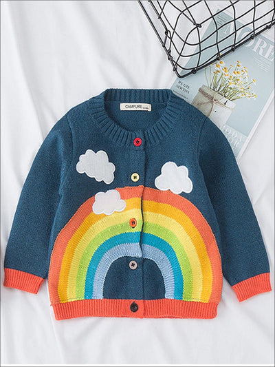 Girls Fall Knit Rainbow Cardigan - Blue / 12M - Girls Jacket