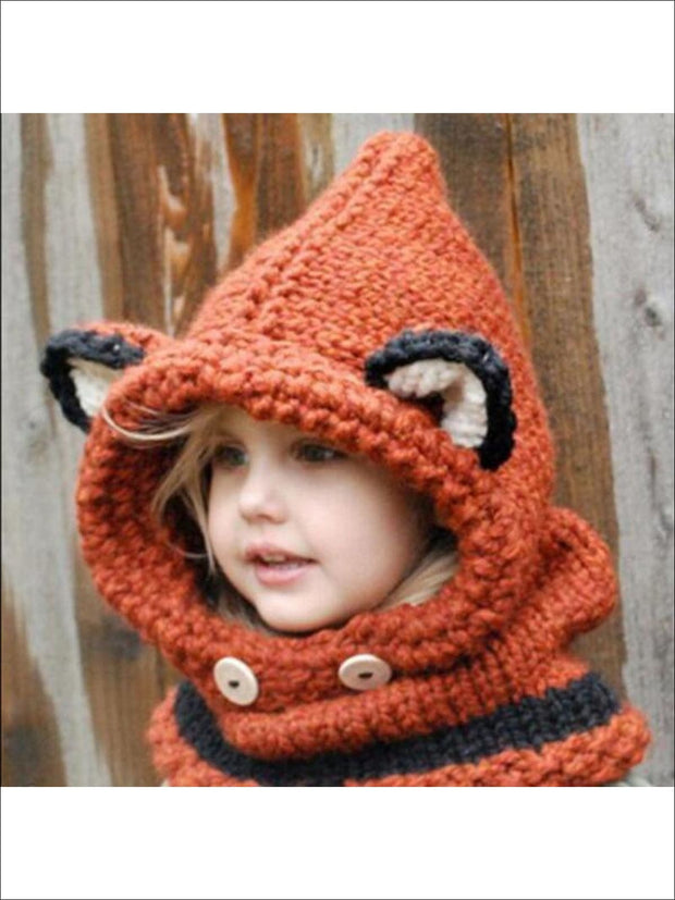 Girls Fall Knitted Fox Scarf Beanie - Red - Girls Hats
