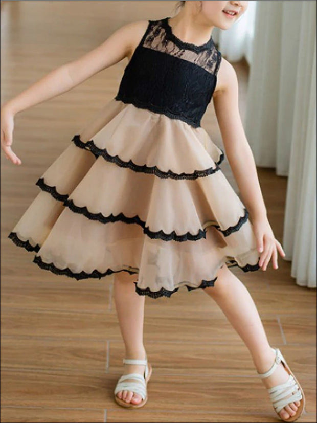 Girls Fall Sleeveless Tiered Ruffle Party Dress - Girls Fall Dressy Dress