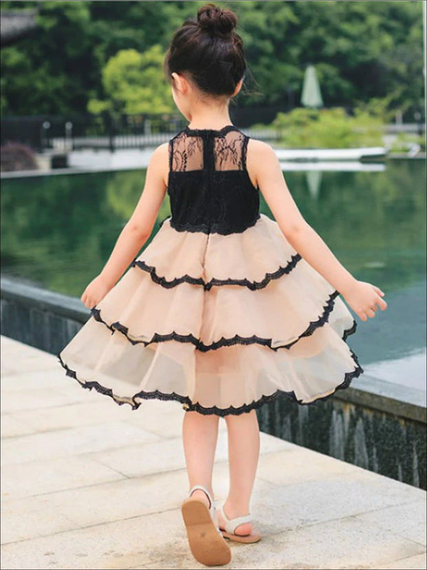 Girls Fall Sleeveless Tiered Ruffle Party Dress - Black/Brown / 2T - Girls Fall Dressy Dress