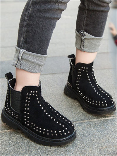 Girls Fall Studded Suede Ankle Booties - Black / 1 - Girls Boots