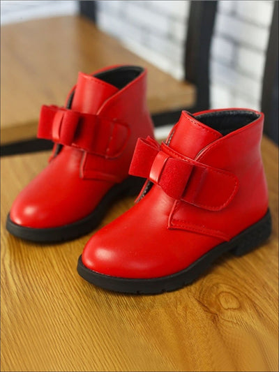Girls Fall Synthetic Leather Bow Strap Booties - Red / 1 - Girls Boots