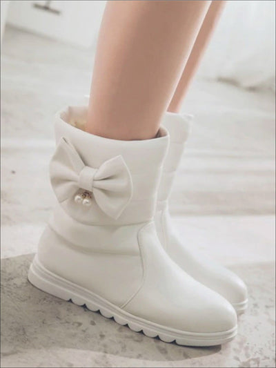 Girls Fall Synthetic Leather Bowknot Mid-Calf Booties - White / 1 - Girls Boots