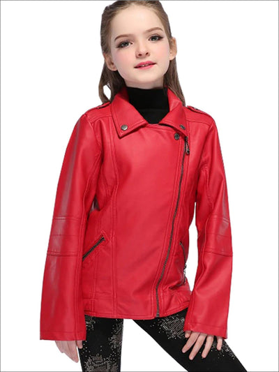 Girls Fall Synthetic Leather Moto Jacket (Red & Black) - Red / 3T - Girls Jacket