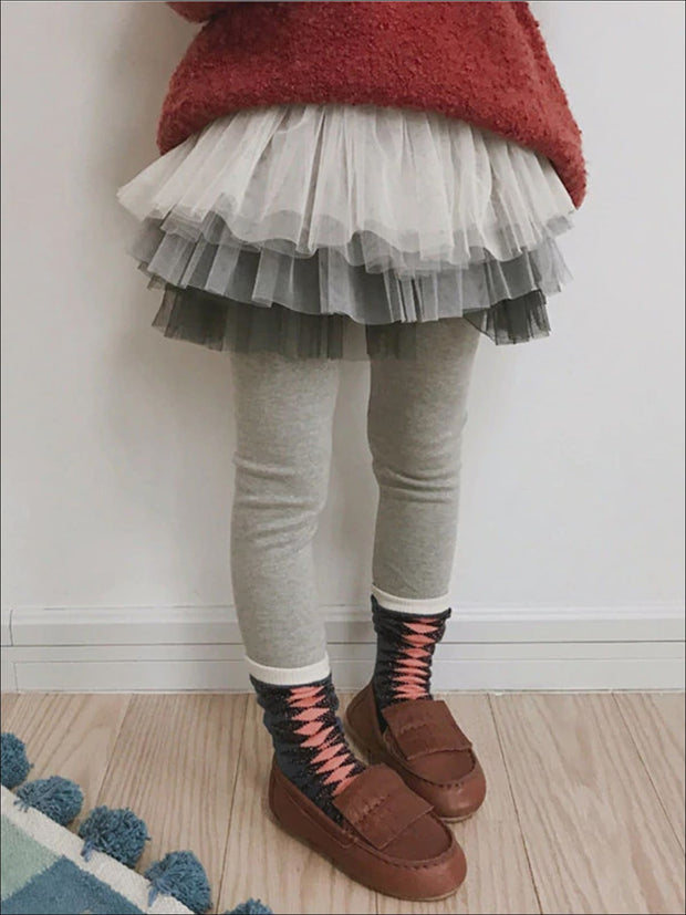 Girls Fall Tiered Tutu Skirt Leggings - dark grey / 3T - Girls Leggings