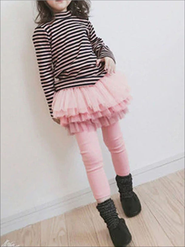 Girls Fall Tiered Tutu Skirt Leggings - pink / 3T - Girls Leggings