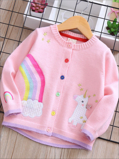 Girls Fall Unicorn Embroidery Cardigan - Pink / 3T - Girls Sweater