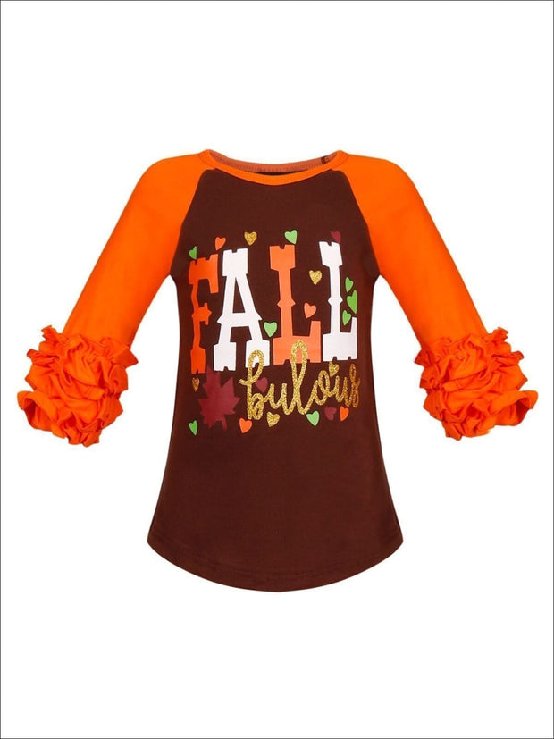 Girls FALLbulous Printed Long Ruffled Sleeve Raglan Top - Orange & Black / S-3T - Fall Graphic Top