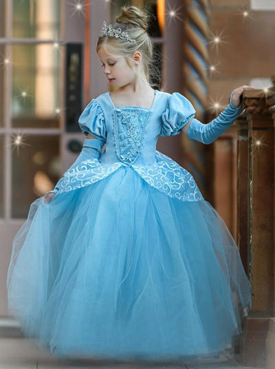 Girls Fancy Deluxe Princess Cinderella Inspired Ball Gown Dress Halloween Costume - Girls Halloween Costume