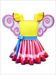 Girls Fancy Nancy Halloween Costume with Wings & Matching Necklace - Girls Halloween Costume