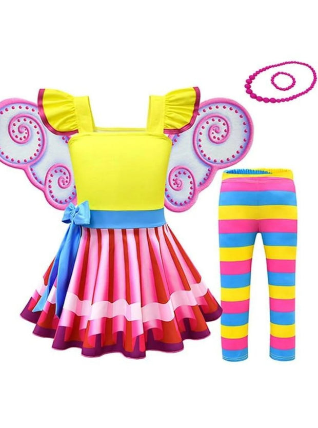 Girls Fancy Nancy Halloween Costume with Wings & Matching Necklace - Multicolor / 2T - Girls Halloween Costume