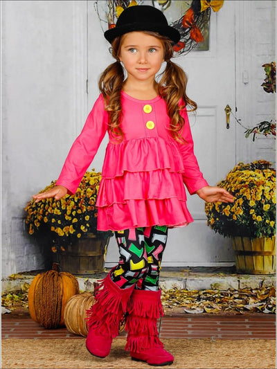 Girls Faux Button Tiered Ruffled Tunic & Printed Leggings Set - Girls Fall Casual Set