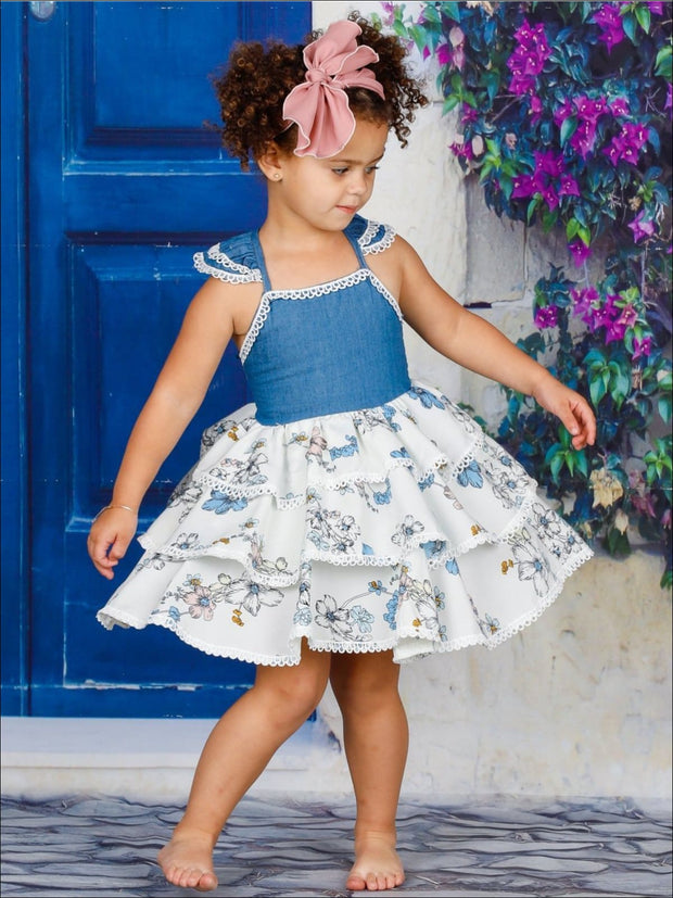 Girls Faux Denim Flutter Sleeve Tiered Ruffle Floral Dress - Girls Spring Casual Dress
