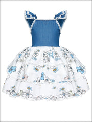 Girls Faux Denim Flutter Sleeve Tiered Ruffle Floral Dress - Blue / 12M - Girls Spring Casual Dress