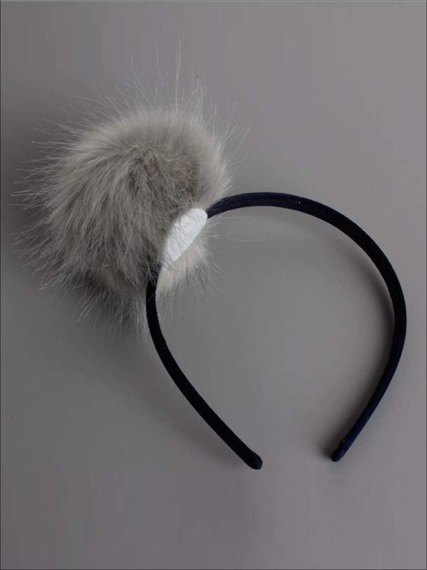 Girls FAUX FUR Headband - Black / One - Hair Accessories