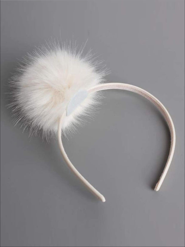 Girls FAUX FUR Headband - White / One - Hair Accessories