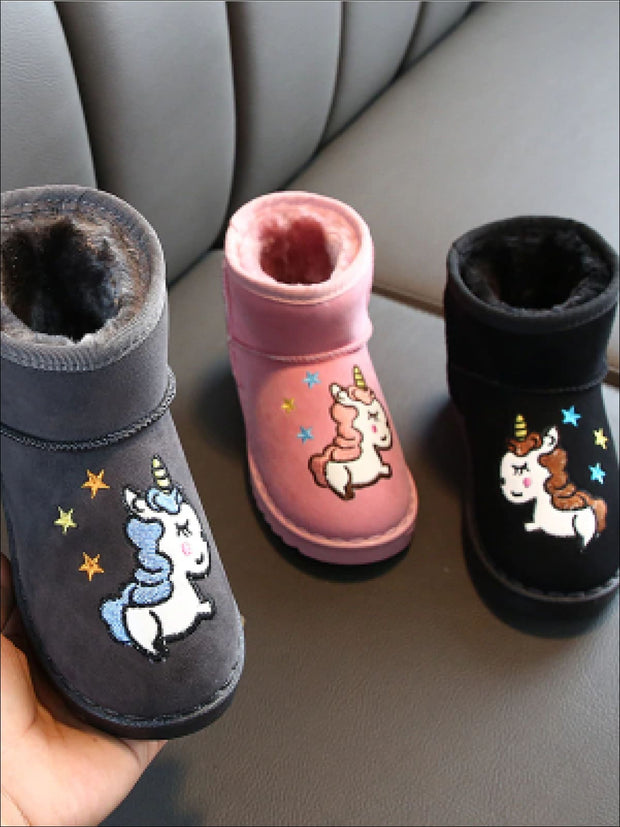 Girls Faux Fur Lined Unicorn Applique Ankle Winter Boots - Girls Boots