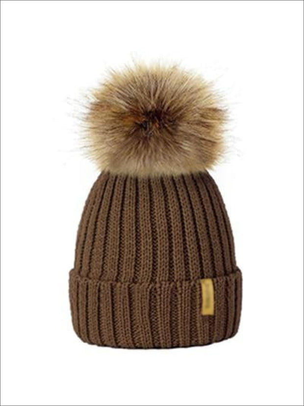 Girls Faux Fur Pom Pom Knitted Hat - Champagne - Girls Hats