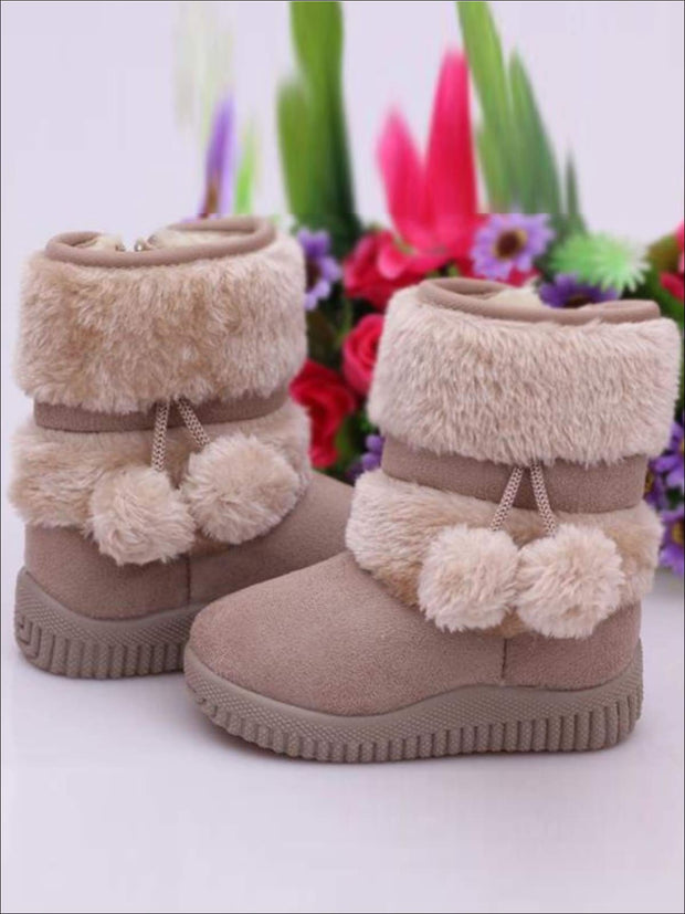 Girls Faux Fur Pom Pom Princess Boots (5 Colors Options) - Girls Boots