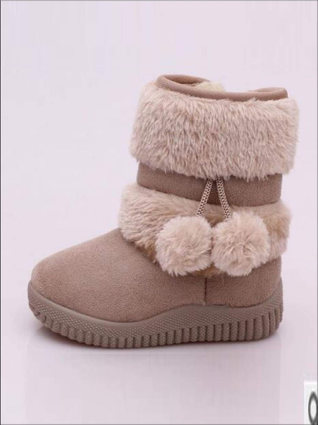 Girls Faux Fur Pom Pom Princess Boots (5 Colors Options) - Beige / 1 - Girls Boots