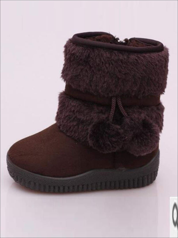 Girls Faux Fur Pom Pom Princess Boots (5 Colors Options) - coffee / 1 - Girls Boots
