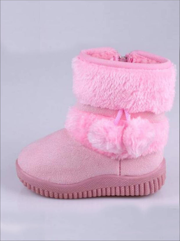 Girls Faux Fur Pom Pom Princess Boots (5 Colors Options) - Pink / 1 - Girls Boots