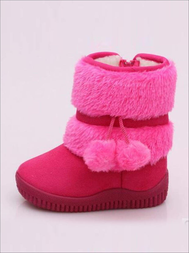 Girls Faux Fur Pom Pom Princess Boots (5 Colors Options) - rose / 1 - Girls Boots