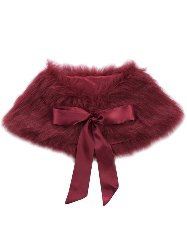 Girls Faux Fur Princess Cloak/Bolero (Fits 3Y-6) - Burgundy / One Size - Girls Jacket