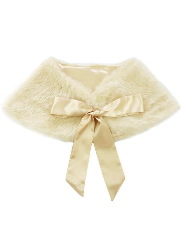 Girls Faux Fur Princess Cloak/Bolero (Fits 3Y-6) - Champagne / One Size - Girls Jacket