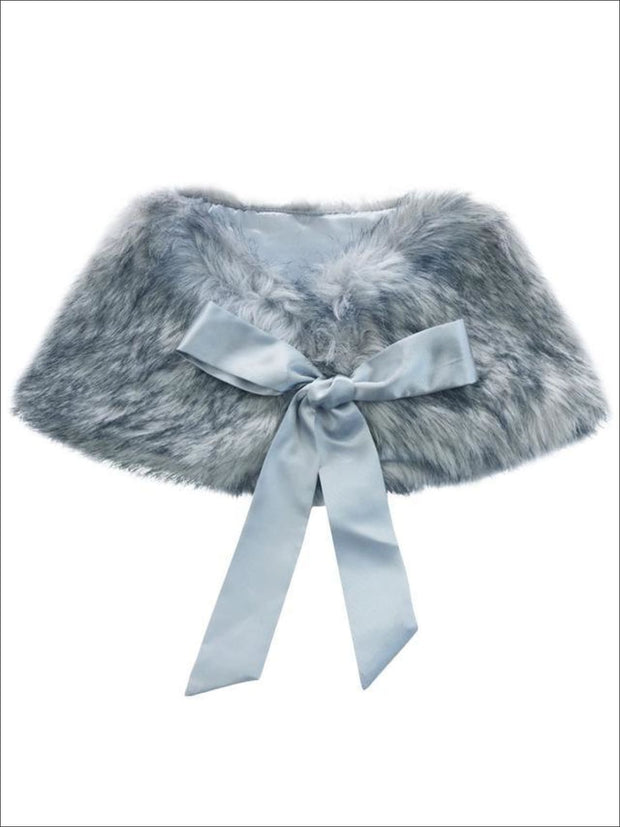 Girls Faux Fur Princess Cloak/Bolero (Fits 3Y-6) - Grey / One Size - Girls Jacket