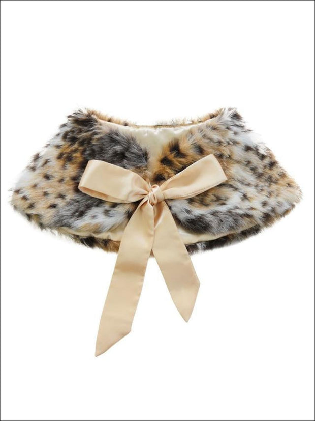 Girls Faux Fur Princess Cloak/Bolero (Fits 3Y-6) - Leopard / One Size - Girls Jacket