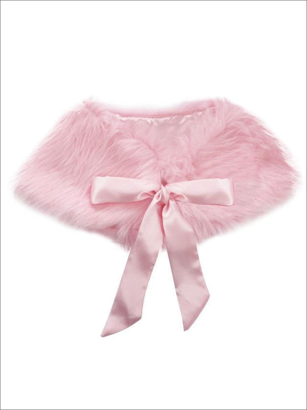 Girls Faux Fur Princess Cloak/Bolero (Fits 3Y-6) - Pink / One Size - Girls Jacket