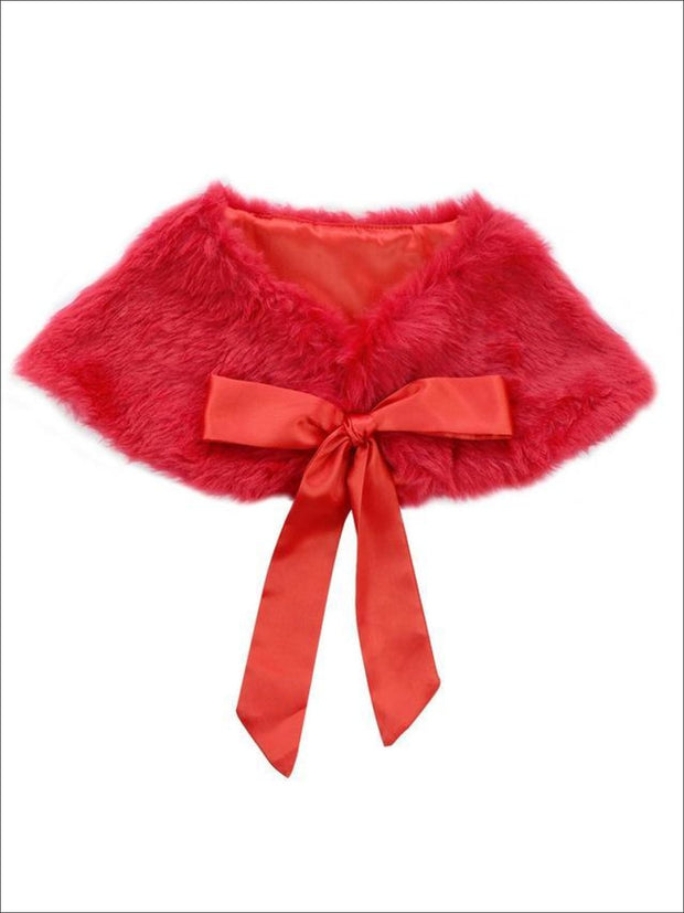 Girls Faux Fur Princess Cloak/Bolero (Fits 3Y-6) - Red / One Size - Girls Jacket