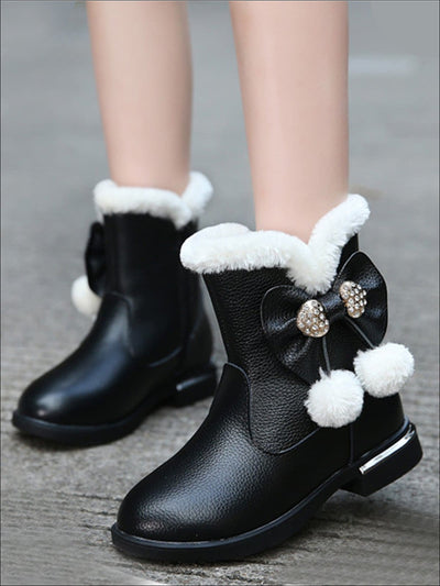 Girls Faux Fur Trimmed Pom Pom Glossy Holiday Boots - Black / 1 - Girls Boots